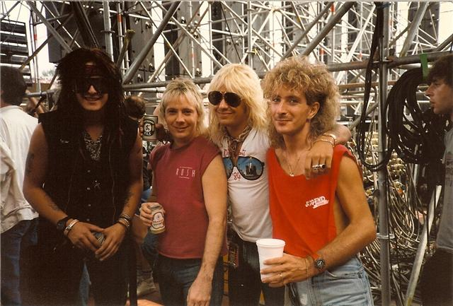 With Craig Gruber and Nicky and Vince of Mötley Crüe, Donnington - 1984